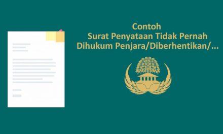 [SAMPEL] Surat Penyataan Tidak Pernah Dihukum Penjara/Diberhentikan/dll (Syarat Seleksi CPNS)